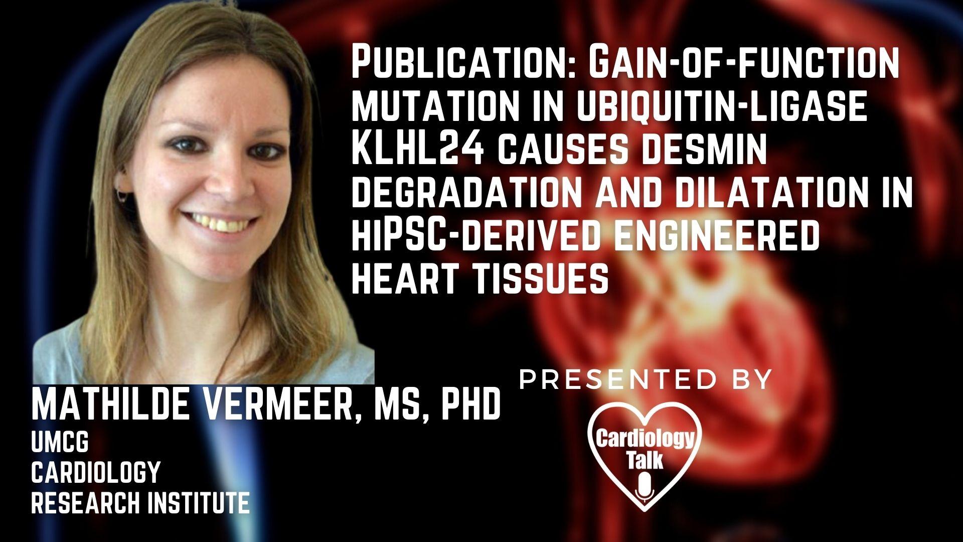 Mathilde Vermeer, MS @CardiologyUmcg @p_van_der_meer @RegenBio @cmu_bme @mariekebolling @HijackSciJac #EngineeredHeartTissue #JournalofClinicalInvestigation #Cardiology #Research Publicat...